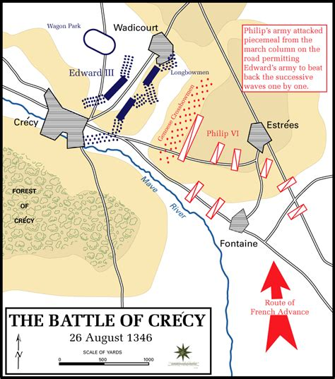 Map of the Battle of Crecy (Crécy) - August 26, 1346